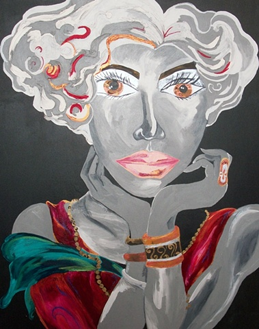 Acrylic on Canvas, Edith Grey Designs, Lady in Red Painting