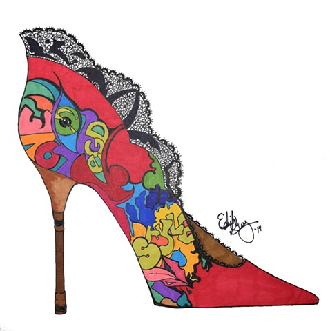 Edith Grey Graffiti Shoe Illustration