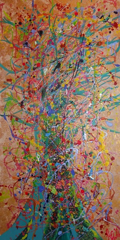 Tree Deconstructed. Abstract Tree, Mixed Media.