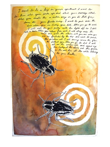 Bugging watercolor with text large scale drawing