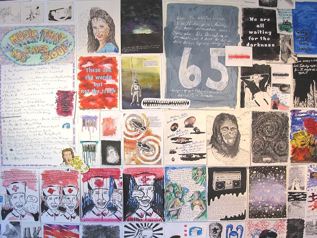 detail mix media wall installation at Lite Box Gallery Birmingham Alabama