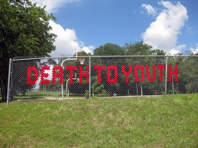 Death to youth Mable Davis Park Austin Texas Installation art