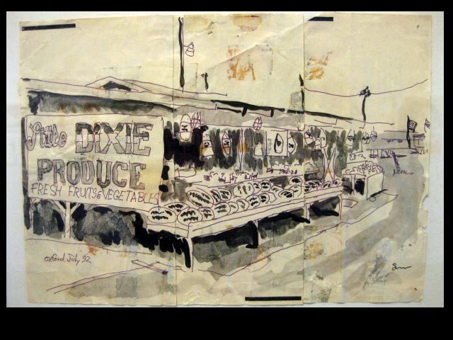 Anniston Alabama ink drawing rural fruit stand