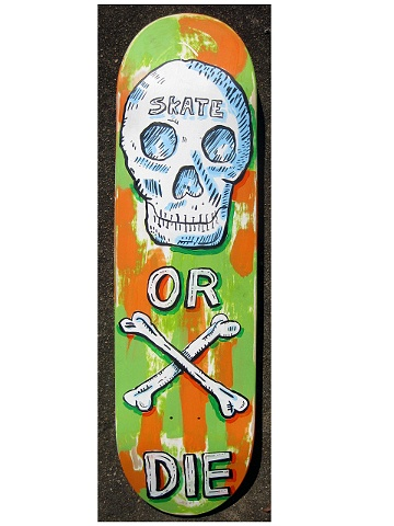 Skate or Die private collectors request for their child, something 80's type skateboard with skulls
