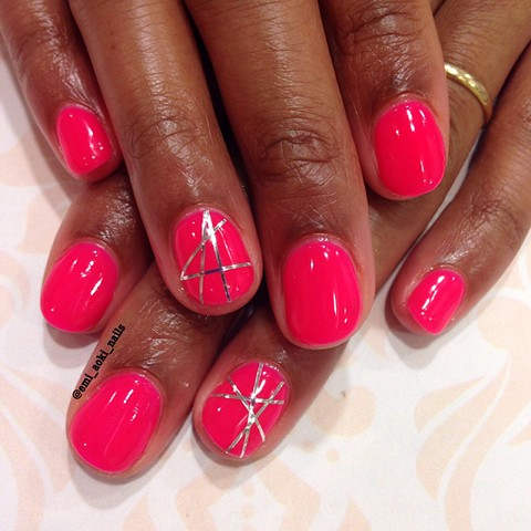 Neon Pink x Silver Lines