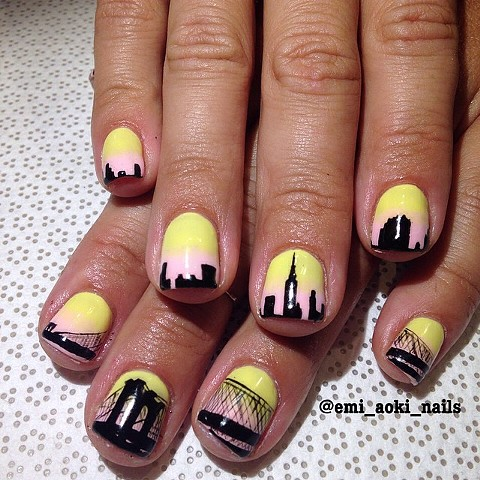 NYC Nails - Empire State Building x Brooklyn Bridge Silhouette