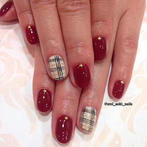 Plaid x Dark Red