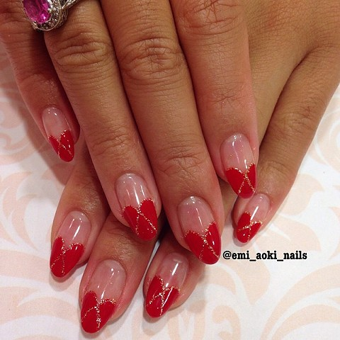 Red Heart French + Gold Glitter Line
