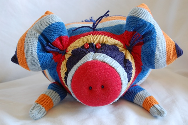 pig, upcycled sweater, sweater monster, sweater pig