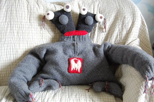 upcycled wool sweaters, sweaters,  monster