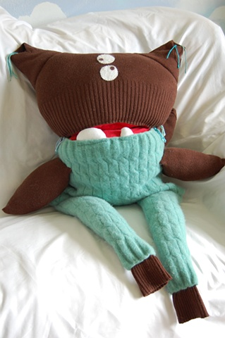 sweater monster, UBz, silly, turquoise, brown