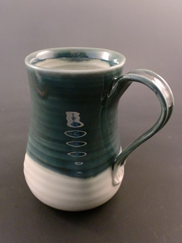 Large mug, glazes in Shaner Oribe over clear