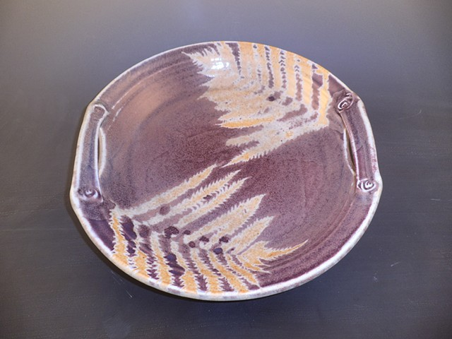 Platter in Shino with Purple Fern Design