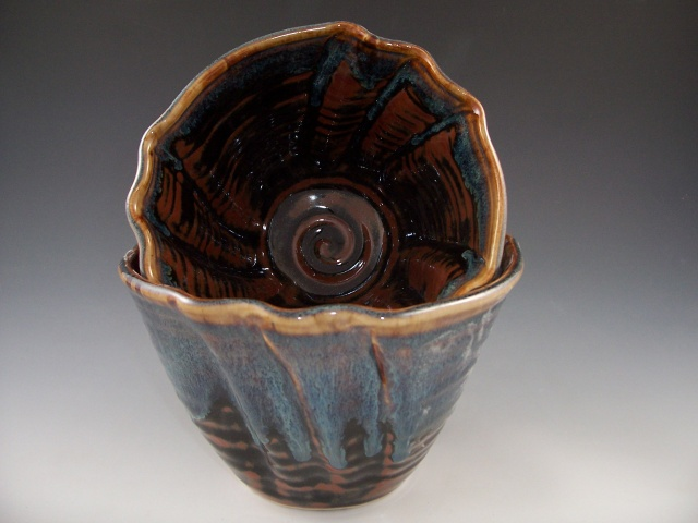 Altered Nesting Bowls in Temmoku with Rutile Rim