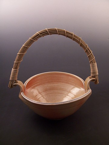 Wood Fired Basket with Cane Handle, Shino glaze