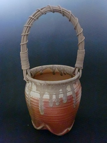 Tripod Basket with Handmade Cane Handle