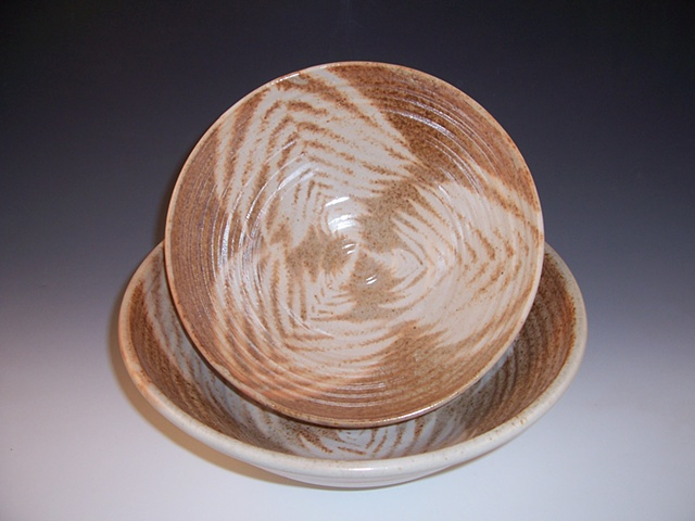 Serving Bowls with Fern Pattern