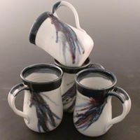 Mugs, new glaze pattern with white base.