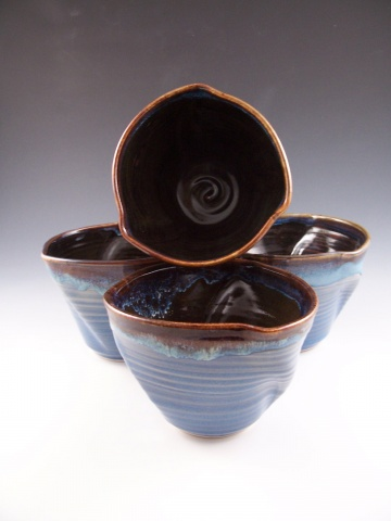 Twisted Bowls in Blue w/Temmoku Interior