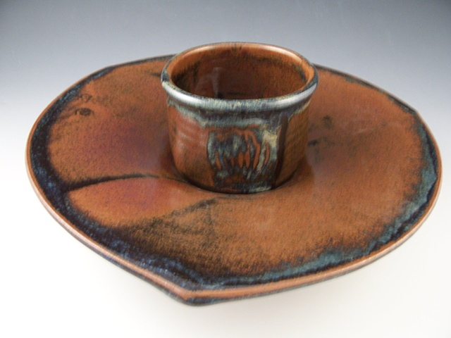 Triange Plate with Tea Bowl for Chip and Dip
