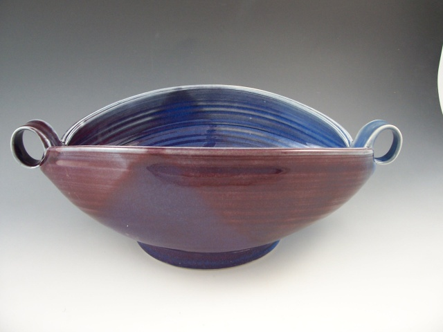 Altered Serving Bowl in Plum with Loop Handles