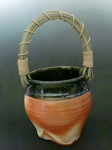 Wood Fired Basket with Rattan Handle and Altered Foot