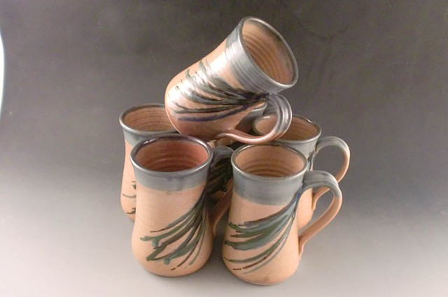 Mugs, Shino with Blue Oribe Rim