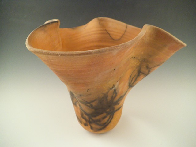 Raku Vase with Horsehair Design