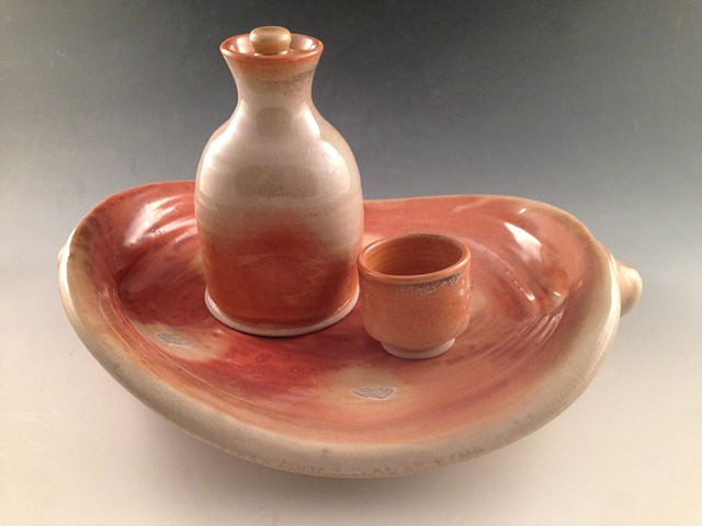 Wood Fired Sake Set with Twice Thrown Tray