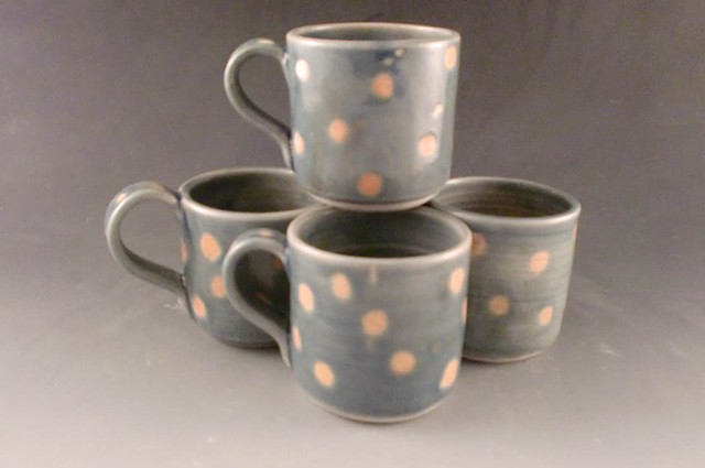 Mugs, Small Blue with Dots