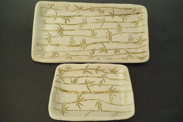 Rectangle Tray Set with Bamboo Imprint