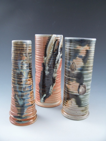 Three Vases with Glaze