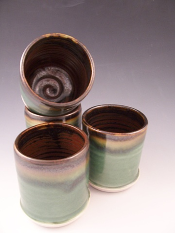 Tumblers in Temmoku with Oribe