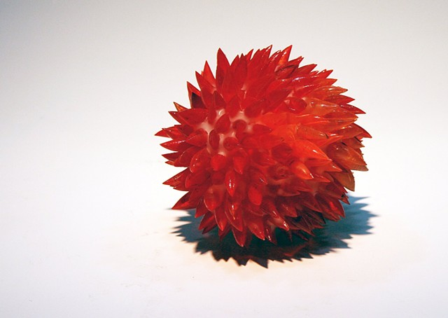red glass fused with wax by emma salamon farina emma salamon red glass