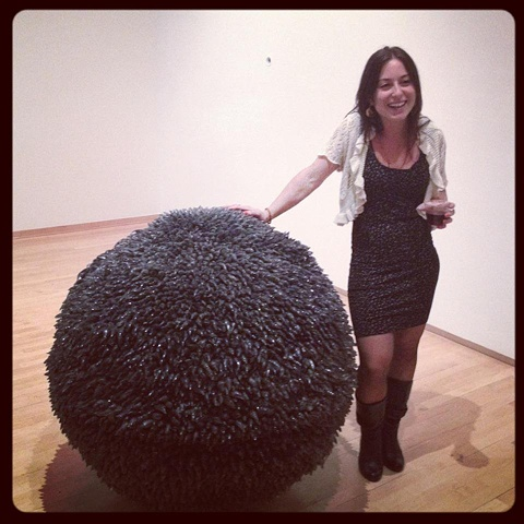 emma salamon and the ball of love. glass, wax, ball installation