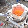 Red-hot ware in Raku kiln