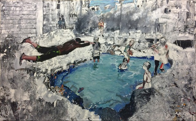 The image is based on a photograph posted by the Aleppo Media Center of children playing in a missile crater filled with water from a damaged pipe.