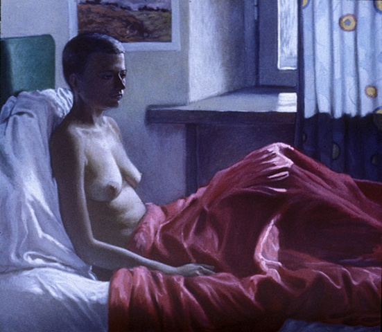 Untitled (a model under a red blanket)
