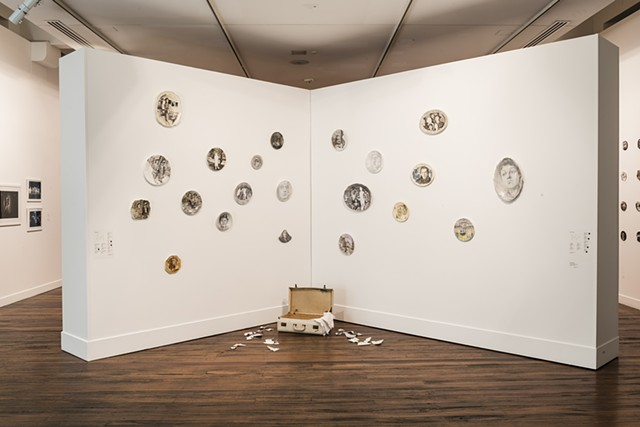 Installation art with ceramic paintings