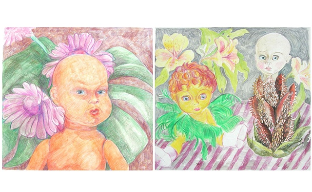 Flower Dollies diptych