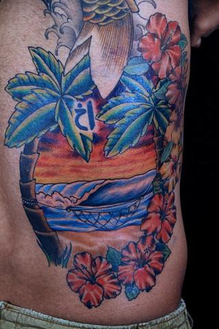 Beach scene Back and rib