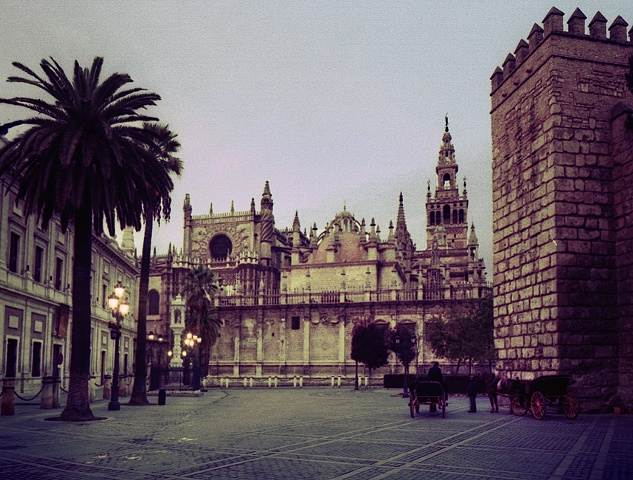 Cathedral, Sevilla. Spain. cross-processed film.