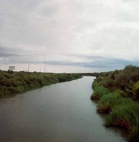"""The Rio Grande River; Mexico on left & US on right"". 2009."