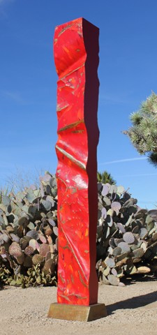 Painted free standing steel sculpture.