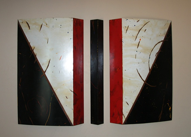 "Black, white and red shaped steel triptych; left and right sides curve out 6"" from wall at deepest point, making it interesting from every angle.  Great patina stain and scratch forms."