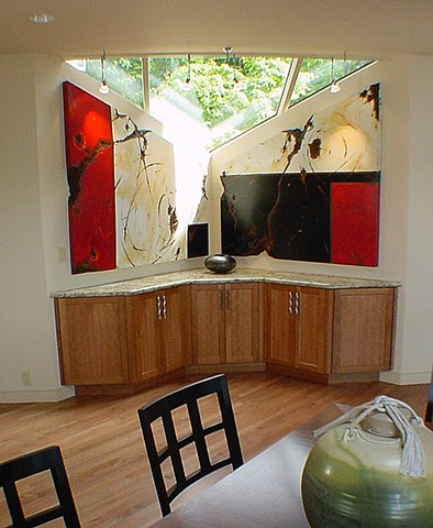Spectacular site specific commission to satisfy this particular corner of a home yet also enhance a unique window feature, this shaped diptych has dramatic red and black squares and fantastic patina stains along with great fractures and scratch marks.