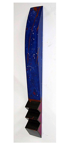 """Beautiful """"stars and comets"""" on a background of multiple shades of blue make this shaped marker an extraordinary piece."""