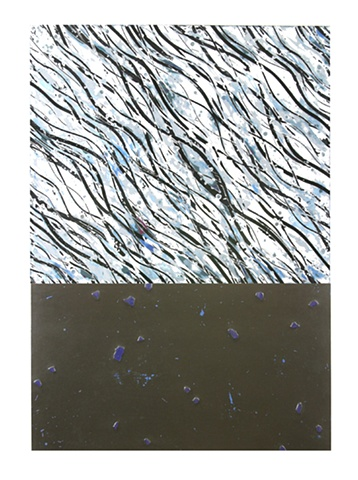 Black, blue, white, oil enamel and glass on panel..