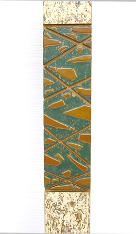 Dappled ivory and gold stele with band of green and gold glass with gold lines.  Beautiful seed distribution on the body of the stele, and beautiful glass and line work on the totem aspect.  On a painted gold wooden base.
