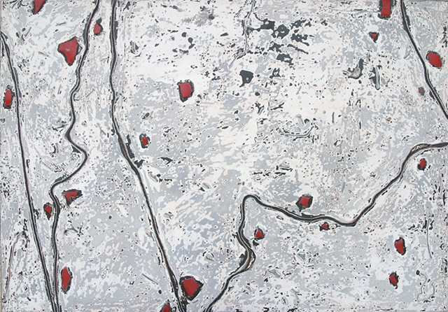Winding black lines, bright red spots under glass that is sanded and polished like agates atop and white and gray background.